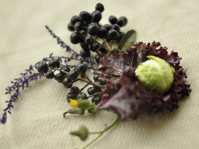kompozycja lesienna z owocami ligustra, brukselką i kwiatem wrzosu