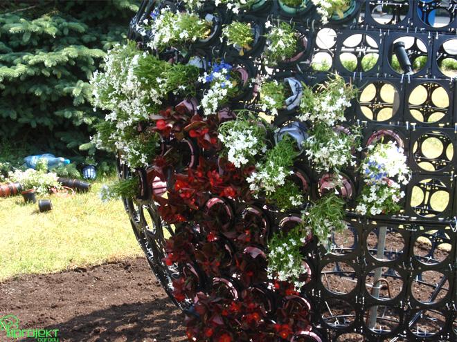 realizacja dekoracji kwietnych przy projekt kuli kwietnej przy promenadzie w Świnoujściu